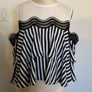 Gracia lace and stripes blouse